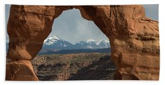 Bath Towel featuring the photograph Looking Through Delicate Arch by Jennifer Ancker