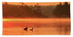 Loon And Chick At Sunrise Hand Towel