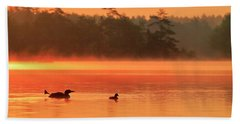 Loon With Young At Sunrise, Nova Scotia Hand Towel
