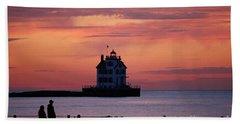 Lorain Lighthouse Sunset Bath Towel