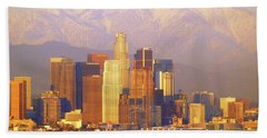 Los Angeles And The San Gabriel Mountains Hand Towel