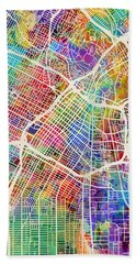 Los Angeles City Street Map Hand Towel by Michael Tompsett