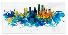 Los Angeles Skyline Hand Towel by Marian Voicu