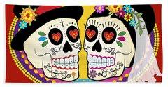 Los Novios Sugar Skulls Hand Towel by Tammy Wetzel