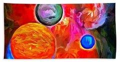 Hand Towel featuring the painting Lost In Space - Near The Sun by Wayne Pascall