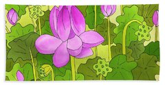 Lotus And Waterlilies Bath Towel