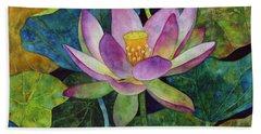 Lotus Bloom Hand Towel by Hailey E Herrera