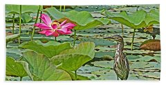 Lotus Blossom And Heron Bath Towel