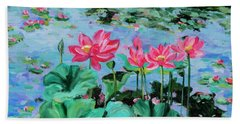 Lotus Hand Towel by Alexandra Maria Ethlyn Cheshire