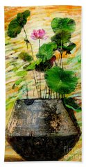 Lotus Tree In Big Jar Bath Towel