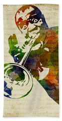 Louis Armstrong Watercolor Hand Towel