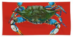 Louisiana Blue On Red Bath Towel