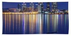 Louisville During Blue Hour Hand Towel by Frozen in Time Fine Art Photography