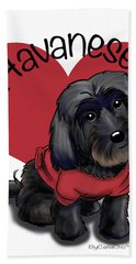Lovable Black Havanese Hand Towel by Catia Cho