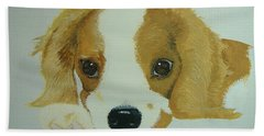 Bath Towel featuring the painting Lovable Puppy by Norm Starks