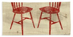 Love Always Red Chairs- Art By Linda Woods Hand Towel