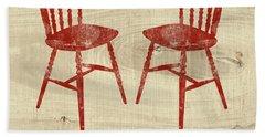 Love Always Red Chairs- Art By Linda Woods Bath Towel