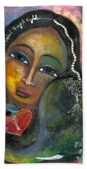Bath Towel featuring the painting Love Can Draw An Elephant Through A Key Hole by Prerna Poojara