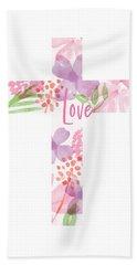 Love Floral Cross- Art By Linda Woods Hand Towel