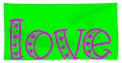 Love In Magenta And Green Hand Towel
