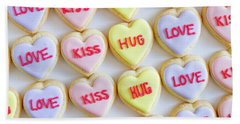 Bath Towel featuring the photograph Love Kiss Hug Heart Cookies by Teri Virbickis