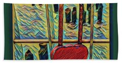 Bath Towel featuring the mixed media Love Locked On The Hudson by Bruce Carpenter