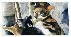 Love Me Tender - Cat Painting Bath Towel