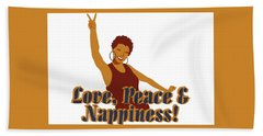 Love Peace And Nappiness Hand Towel by Rachel Natalie Rawlins