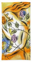 Hand Towel featuring the painting Love, Roses And Thorns by Leon Zernitsky