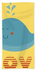 Love Whale Cute Animals Hand Towel