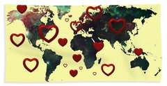 Love World Map 2 Bath Towel