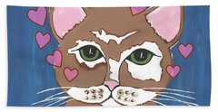 Loveable Cat Hand Towel by Kathleen Sartoris