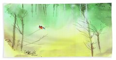 Bath Towel featuring the painting Lovebirds 3 by Anil Nene