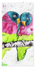Hand Towel featuring the painting Lovebirds by D Renee Wilson