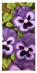 Bath Towel featuring the painting Lovely Purple Pansy Faces by Inese Poga