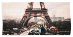 Lover Doves In Paris Hand Towel