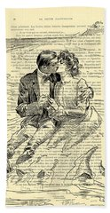 Loving Couple By The Sea Hand Towel
