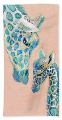 Hand Towel featuring the digital art Loving Giraffes Family- Coral by Jane Schnetlage