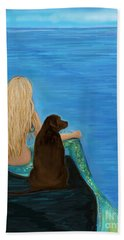 Hand Towel featuring the painting Loving Lab Loyalty by Leslie Allen