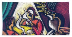 Hand Towel featuring the painting Loving Relationship by Leon Zernitsky