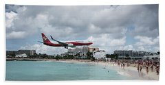 Low Landing At Sonesta Maho Beach Hand Towel by Nick Mares