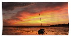Low Tide Sunset Sailboats Hand Towel