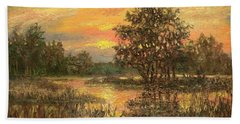 Hand Towel featuring the painting Lowcountry Sky by Kathleen McDermott