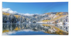 Lower Cataract Lake Fall Snow Scene Hand Towel