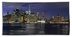 Lower Manhattan From Brooklyn Heights At Dusk - New York City Bath Towel