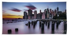 Lower Manhattan Purple Sunset Bath Towel