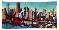 Lower Manhattan Skyline New York City Bath Towel