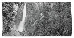 Lower Yosemite Falls In Black And White By Michael Tidwell Bath Towel