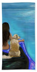 Hand Towel featuring the painting Loyal Loving Buddy by Leslie Allen
