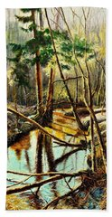 Hand Towel featuring the painting  Lubianka-1- River by Henryk Gorecki